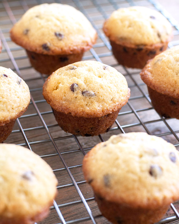chocolate chip muffins on a wire rack