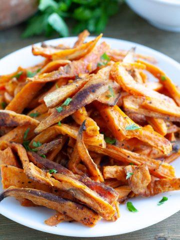 Plate of sweet potato fries.