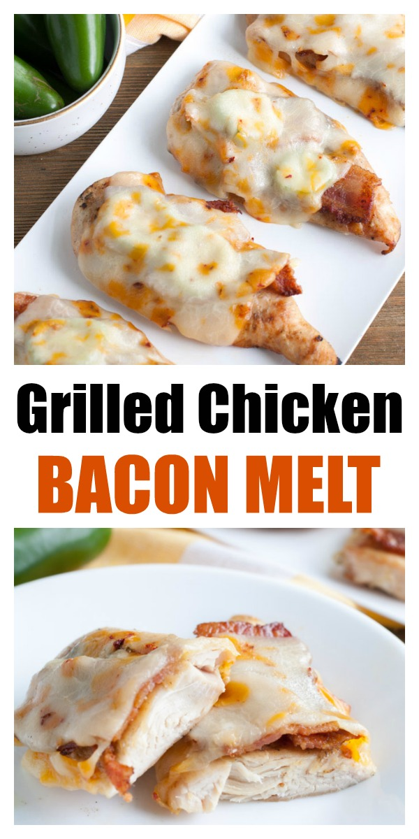 This Grilled Chicken Bacon Melt is ultimate meal for a summer BBQ. Grilled chicken topped with bacon strips, jalapenos and creamy, melted Southwest cheese!#ad #realcheesepeople @SargentoCheese #grilledchicken #chickenmelt