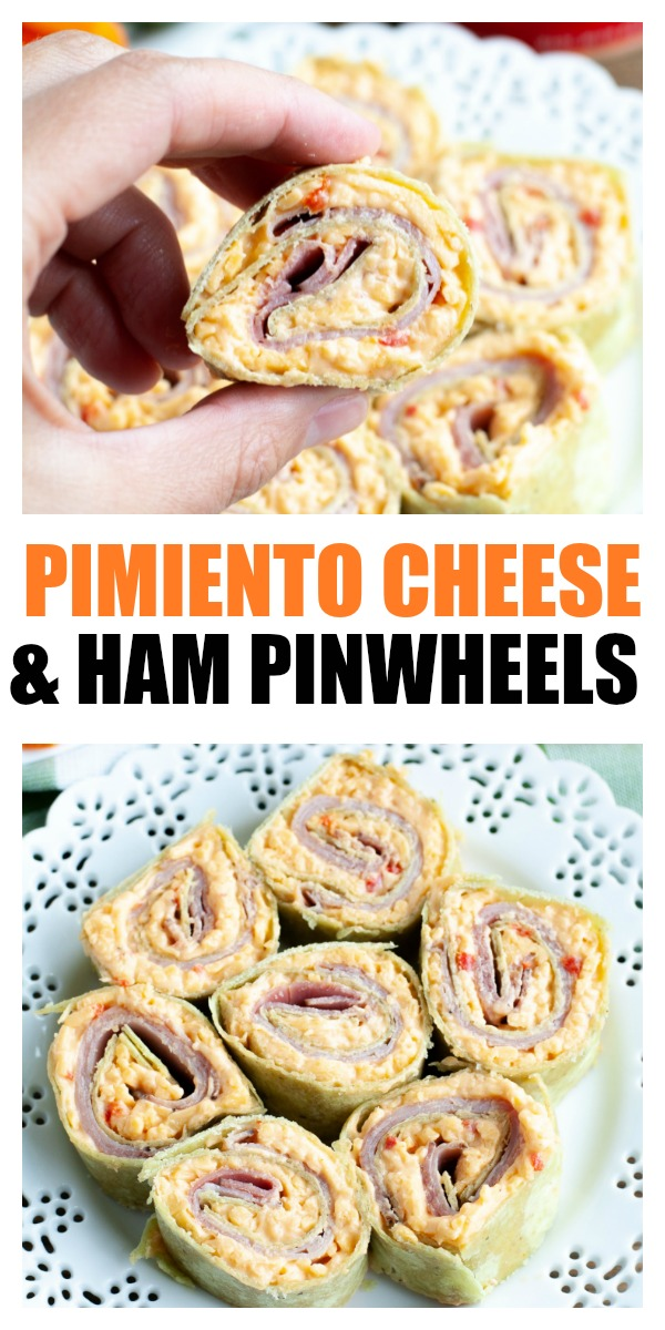 Pimiento cheese and ham pinwheels are simple to make only using 3 ingredients, ham, quality pimiento cheese and tortilla. Sliced into rounds, these pinwheels are perfect for a party snack or appetizer. #ad #pricestradition #pinwheels #rollups #hamandcheese #pimientocheese #appetizers #partyfood