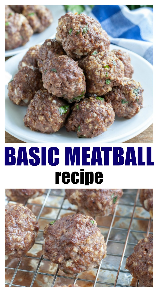 This basic meatball recipe can be used for countless recipes. Made with ground beef, Panko bread crumbs, a little onion and baked in the oven.They can also be frozen for later. #meatballs #basicmeatballs #groundbeef #easydinner #mealplanning