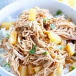 Bowl of rice with shredded chicken and diced pineapple.