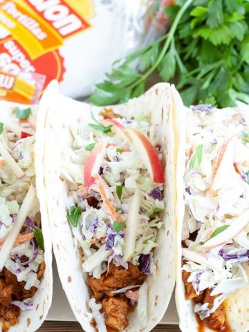 Soft taco with BBQ and slaw.