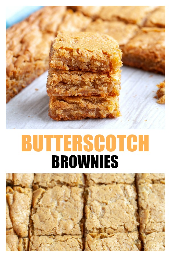 Butterscotch brownies are chewy and sweet. Perfect to satisfy your sweet tooth! #butterscotchbrownies #butterscotchblondies #butterscotch #blondies #brownies