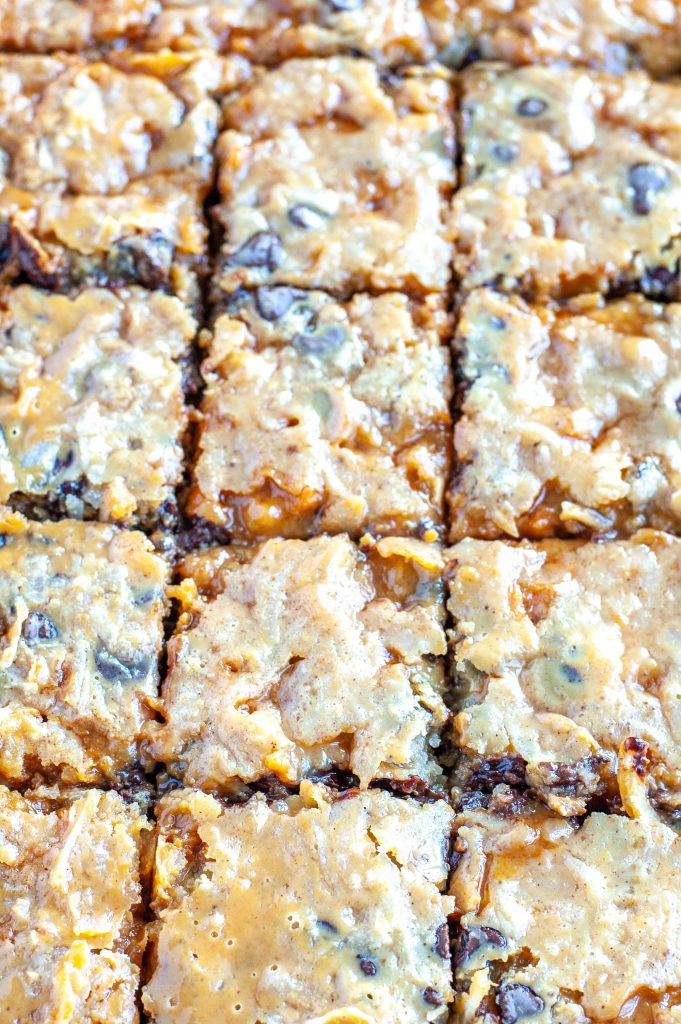 Pumpkin layer bars cut in squares