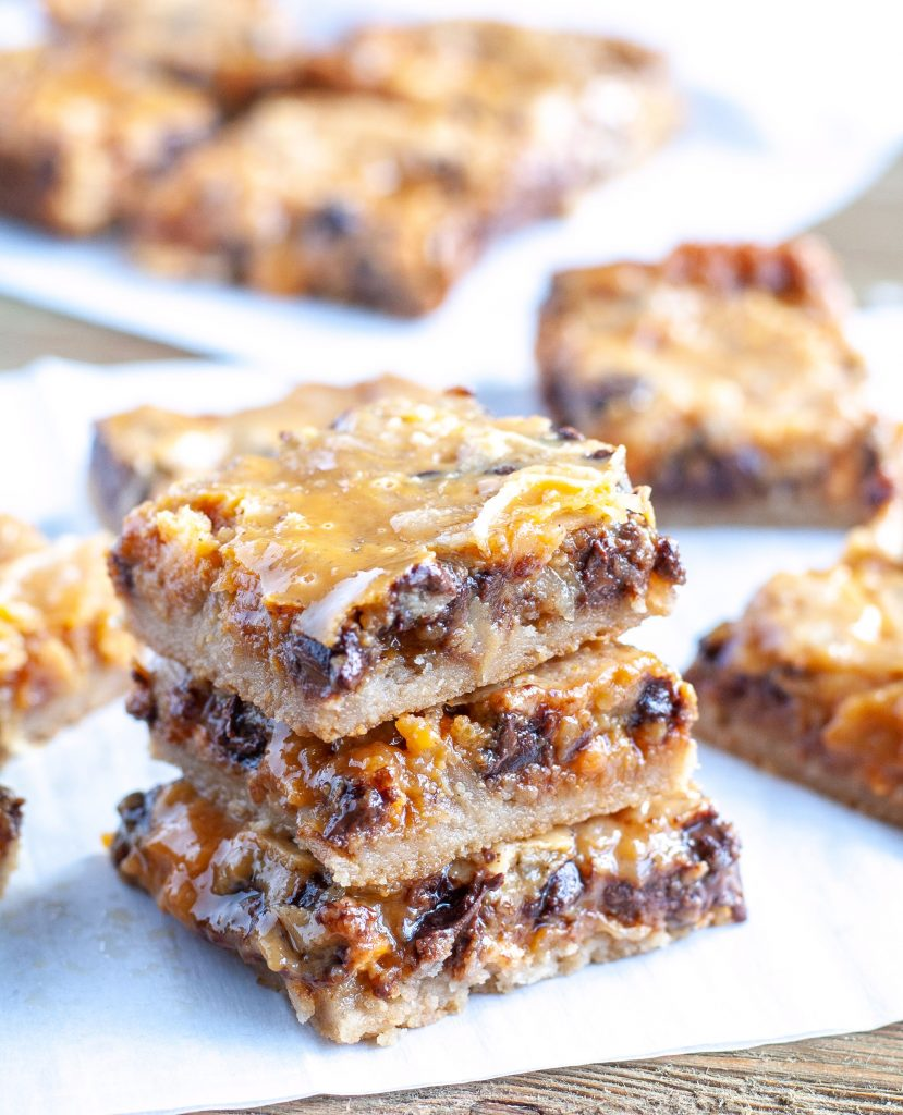 Pumpkin magic bars stacked