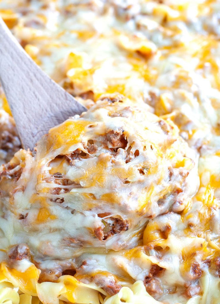 Cheesy Beef and Noodle Casserole with Spoon
