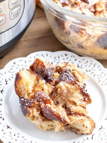 Plate with french toast casserole.