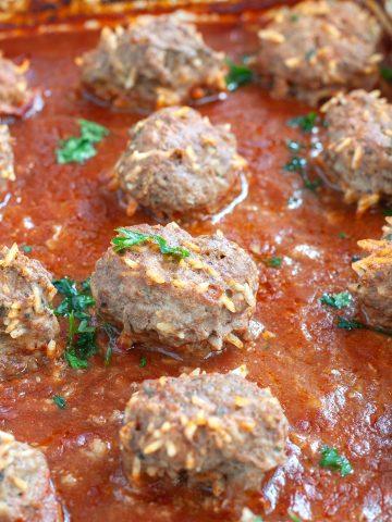 Meatballs in sauce.