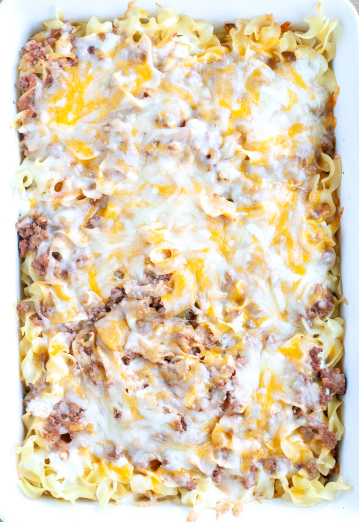 Baked Cheesy Beef and Noodle Casserole