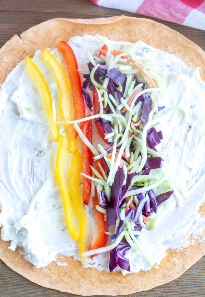 Tortilla with vegetables and cream cheese for pinwheel recipe