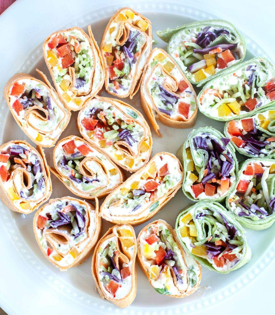 Plate of vegetable pinwheels