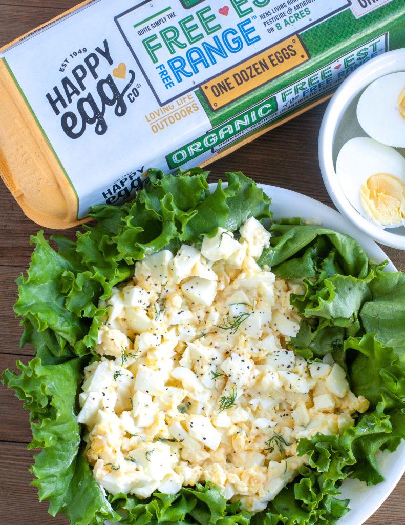 Egg salad on a bed of lettuce.