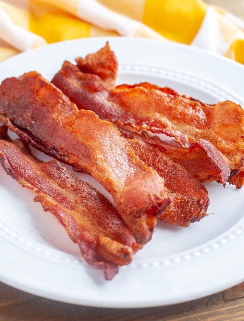 Air fryer bacon on a plate