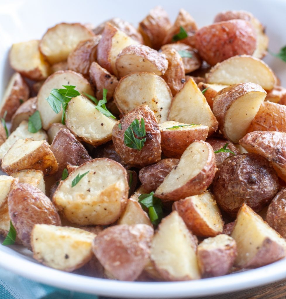 Bowl of air fryer roasted red potatoes