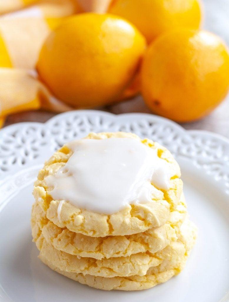 Lemon Cookies stacked on plate