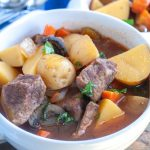 Bowl with beef stew.