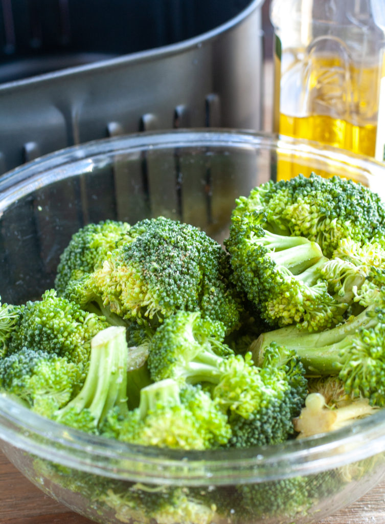 Broccoli in a bowl by air fryer