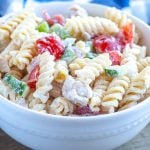 Bowl with chicken pasta salad.