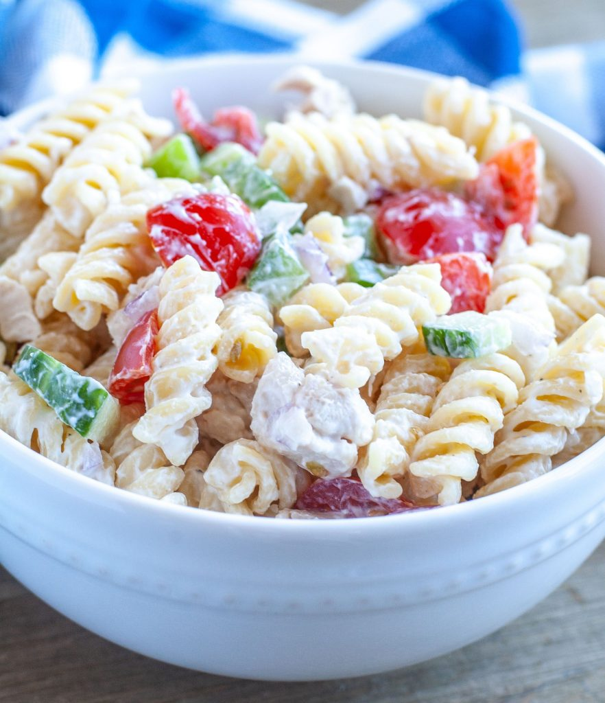 Bowl of Chicken Pasta Salad