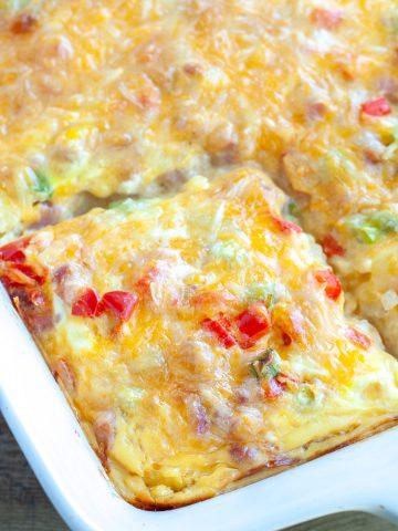 Baking dish with breakfast casserole.