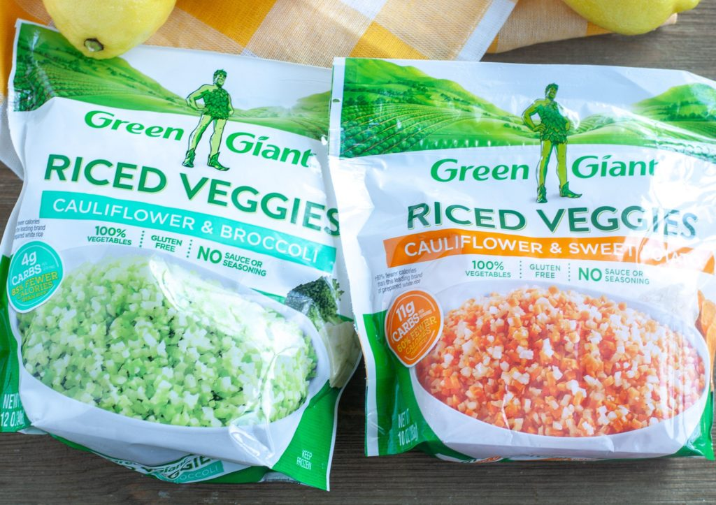 a bag of Green Giant Riced Cauliflower and Broccoli and a bag of Green giant riced sweet potatoes