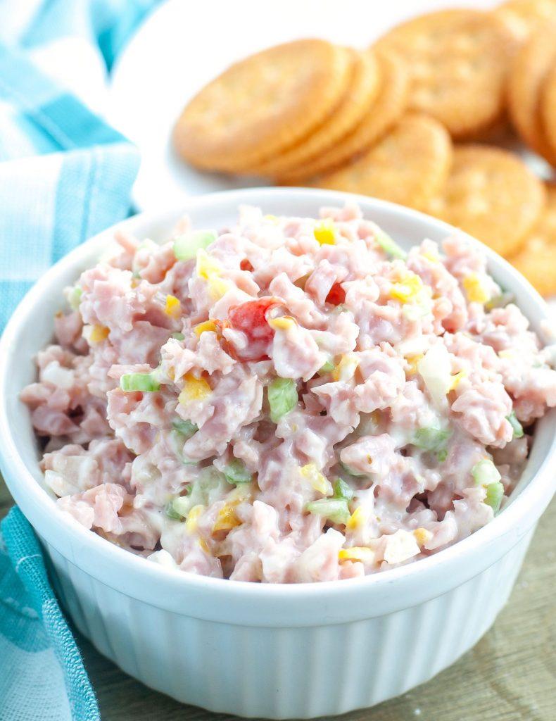 Bowl of ham salad.