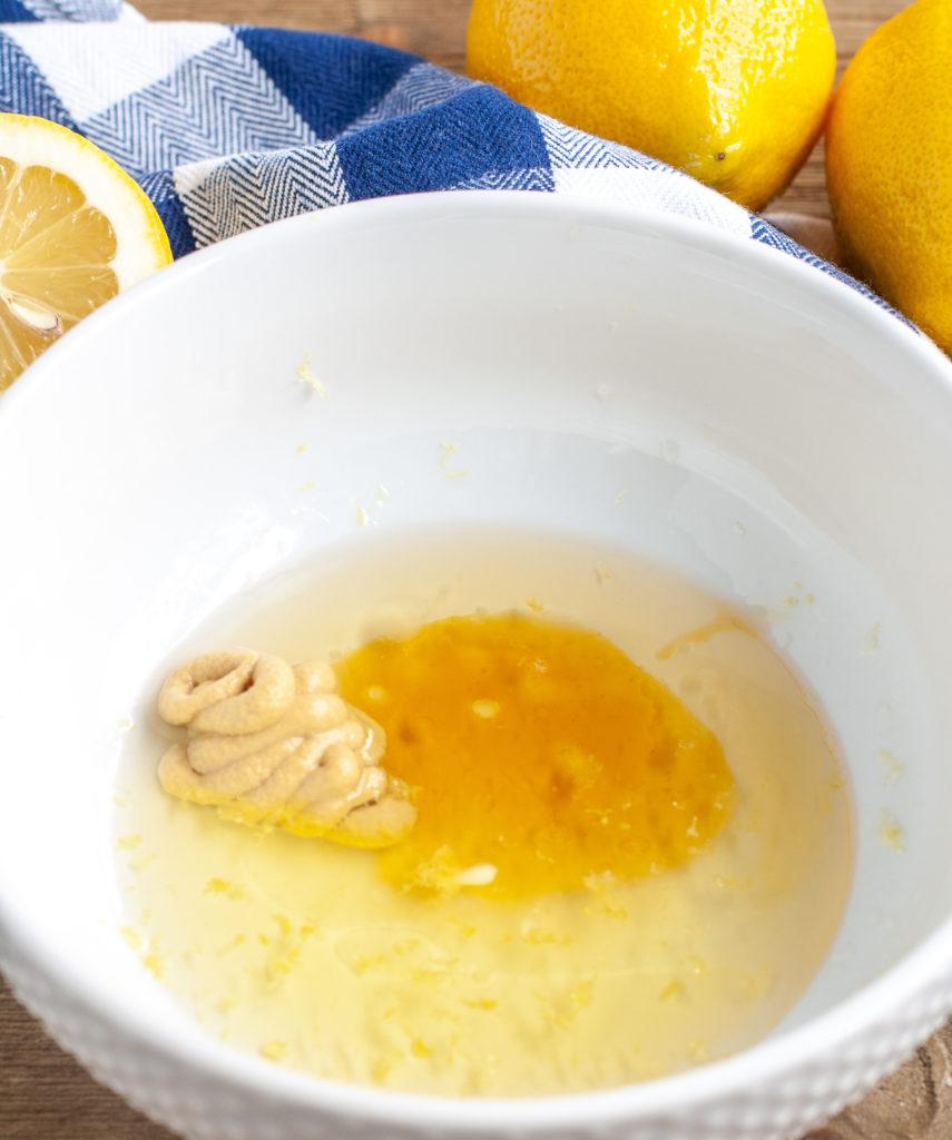 Chicken marinade ingredients in a bowl.