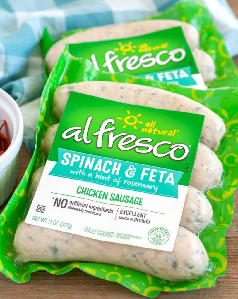 Package of al fresco Spinach and Feta chicken sausage