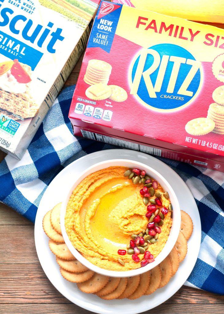 Bowl of pumpkin hummus with RITZ crackers
