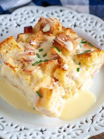 Piece of breakfast casserole on plate.