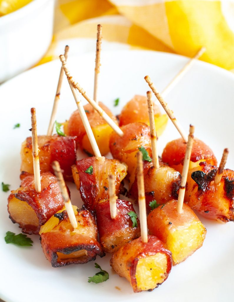 Plate of bacon wrapped pineapple