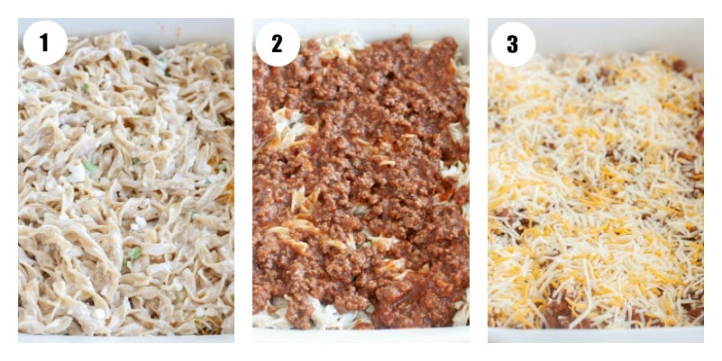 Steps to layering noodle bake. Noodles first, then beef sauce and then shredded cheese.