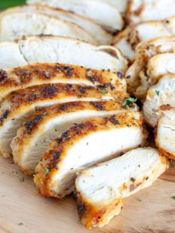 Sliced chicken breast on a plate