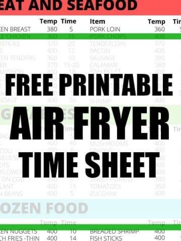 Free Printable Air Fryer Sheet