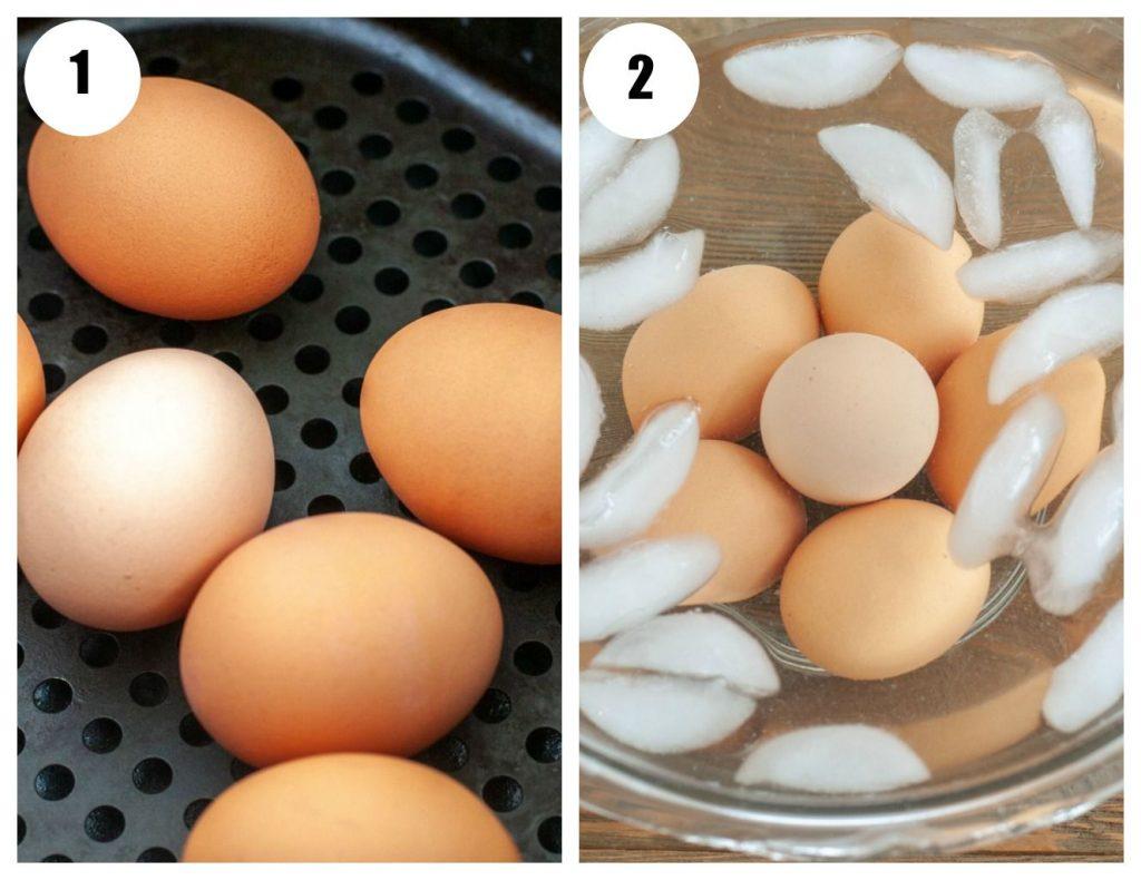 Step 1 eggs in air fryer basket Step 2 eggs in ice bath