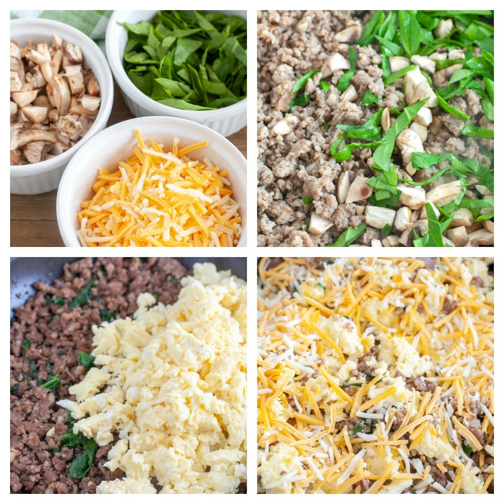 4 pictures, bowls with mushrooms, spinach and cheese, skillet with sausage mushrooms and spinach, sausage eggs