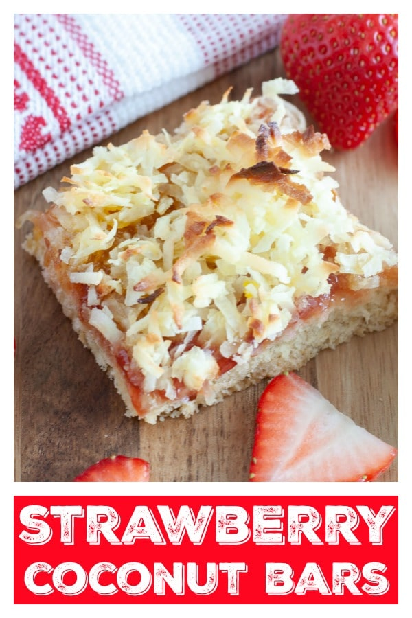 Pinterest Pin with a picture of strawberry coconut bar