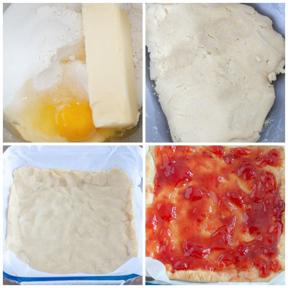 4 pictures, mix bowl with egg butter and sugar, dough formed, dough pressed into dish, strawberry jelly over crust
