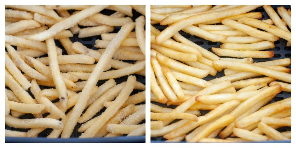 One picture with frozen fried in air fryer basket, the other picture is cooked french fries