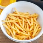 Air Fryer Frozen French Fries Cooked in a bowl