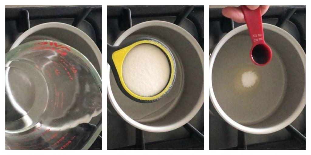 Water, sugar, and vanilla extract going into saucepan