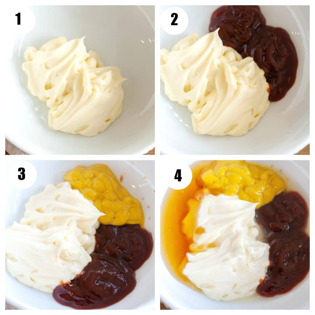 Steps to making sauce, bowl with mayo, bowl with mayo and BBQ, bowl with mayo, bbq, mustard, and bowl with honey