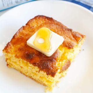 Piece of cornbread on a plate