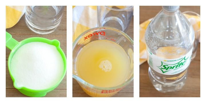 A cup of lemonade mix, measuring cup of pineapple juice and Sprite