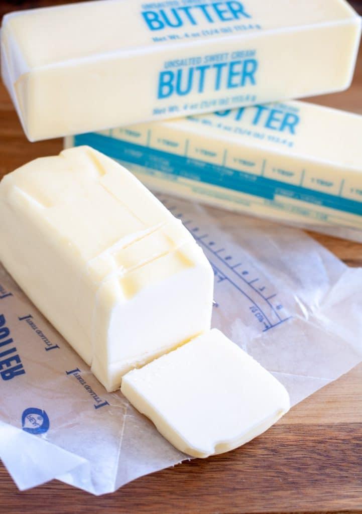 stick of butter sliced