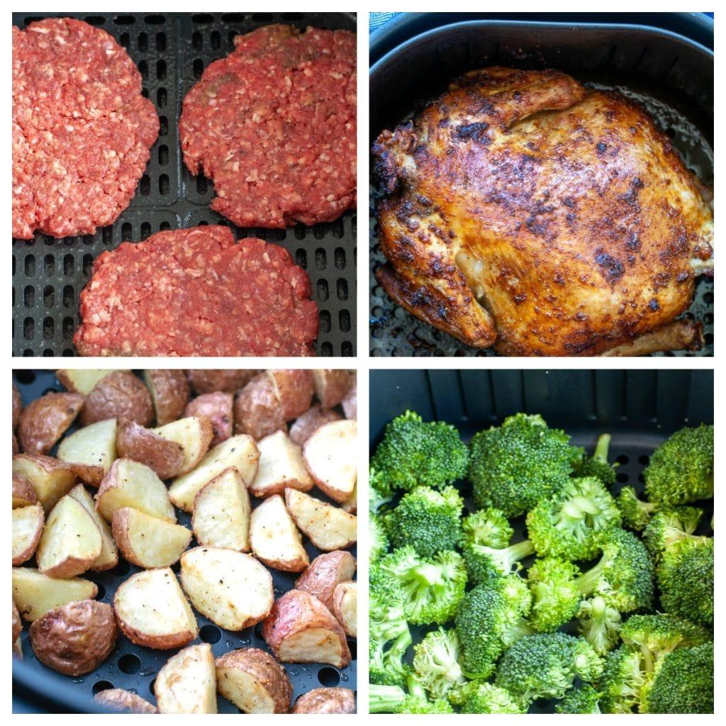 hamburger patties, chicken, potatoes and broccoli
