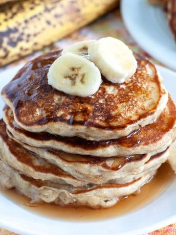 Banana Oatmeal Pancakes on a plate
