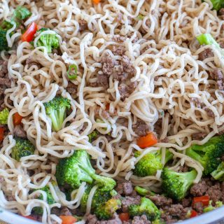 Beef vegetables and ramen
