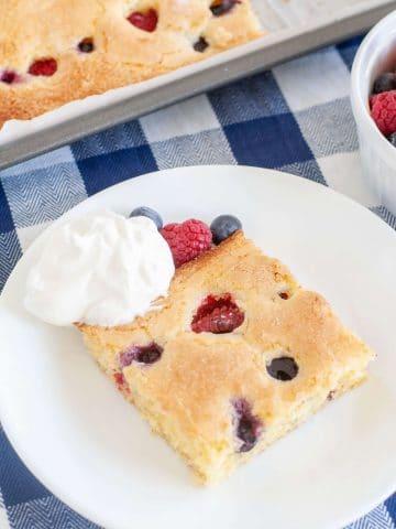 sheet cake on a plate